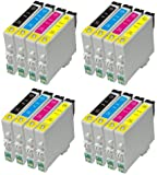 16 Inks Epson T0615 (4x T0611 Black, 4x T0612 Cyan, 4x T0613 Magenta, 4x T0614 Yellow), 4 Full Set of 4 Printer Ink Cartridge compatible for Epson Stylus D68 D68PE D88 D88 Plus D88 Photo Edition DX3800 DX3850 DX4200 DX4250 DX4800 DX4850 Chipped and ready to use
