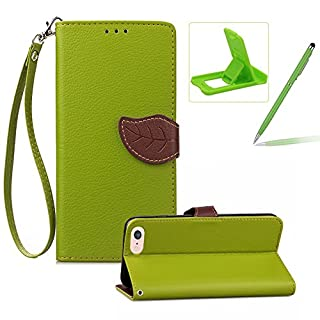 Herzzer Strap Leather Case for iPhone SE,Green Wallet Flip Cover for iPhone 5S, Classic Unique Magnetic Leaf Buckles Design Full Body Card Slots Stand Folio Synthetic Leather Case with Soft Silicone