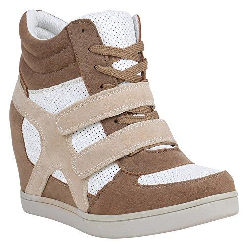 Sportliche Damen Basic Sneaker-Wedges Bequeme Sneakers Keilabsatz 151729 Hellbraun Brito 40 Flandell