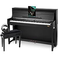 Classic Cantabile UP-1 SM E-Piano Deluxe Set (inklusive Pianobank, Kopfhörer und Klavierschule, Dämpfersimulation, MP3-Recorder, Mic In, OLED Display, 40 hochwertige Sounds, 3 Pedale ) schwarz