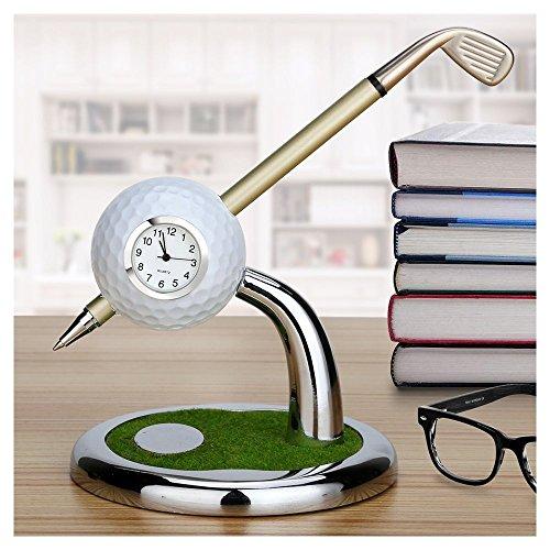 Golf Cadeau  Mini Bureau Golf Horloge Stylo bille avec support de golf stylos 2pcs Lot de souvenir de golf Tour souvenir fantaisie Cadeau