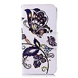 Chreey Huawei Y6 (2018) Hülle, Leder Handyhülle Flip Case Bunt Muster Handy Schutzhülle mit Brieftasche Kartenfach Magnetverschluss [Braun Schmetterling]