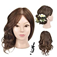 "18"" Training Head 100% Human Hair Cosmetology Hairdressing Mannequin Head Manikin Doll Head with Free Clamp"