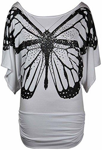 Femmes hors épaule Sequin papillon batwing Side Rassemblé Top EUR Taille 36-54 Blanc