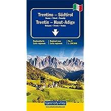 Trentin - Haut-Adige (avec plans de Bolzano, Trente, Venise) - Carte régionale, routière et touristique - Italie (échelle : 1/200 000)