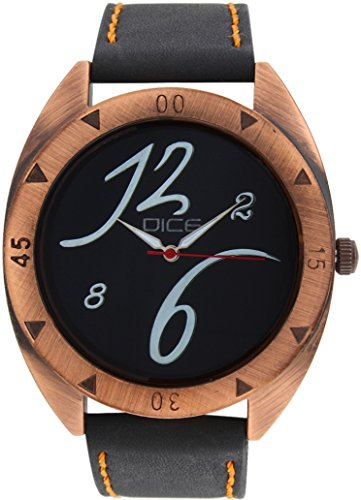 """Dice """"Rose Gold C 6215"""" Casual Round Shaped Wrist Watch For Men. Fitted with Beautiful Black Color Dial, Attractive Case and Anti Allergic Leather Strap."""