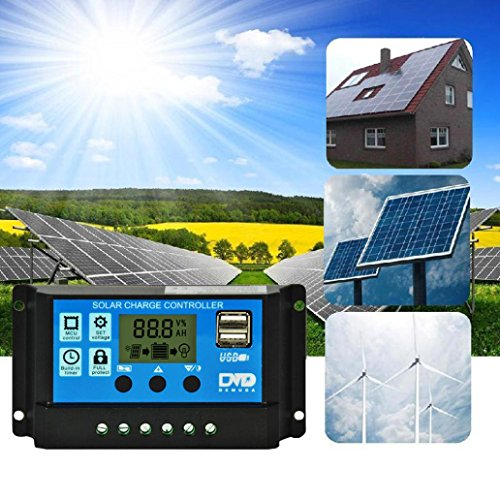 sunnymi Solarsystem-Controller/Dual USB Solar Panel Batterie/Regler-Regler/Ein-Tasten-Einstellung/Digitalanzeige Auto-Speicher-Funktion (10A)