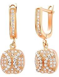 AnaZoz Joyería de Moda Simple Personalidad Pendientes de Clip on Para Mujer Chapado en Oro Rosa Cuadrado Blanco Zirconia Cristal Pendientes Para Mujer