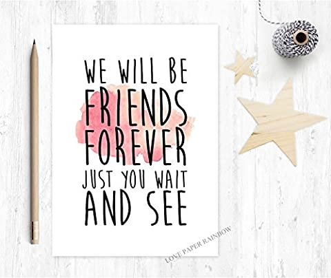 Best friends forever card, winnie the pooh quote, best friend card, friendship card, friend leaving card, sorry you're leaving, new job