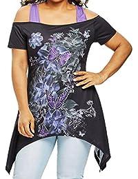 Mujeres Tops Piebo Mujer Talla Grande Mariposa Impresa Hombro Frío Camiseta Manga Corta Tops Blusa