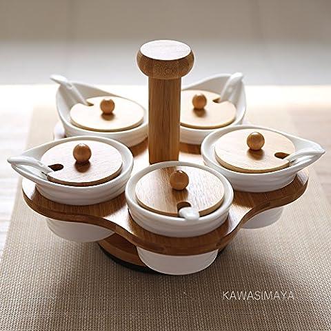 WEIAN bambù Barattolo Portaspezie girevole in ceramica