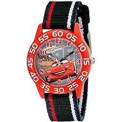Disney Kids' W001954 Cars Analog Watch With Striped Nylon Band