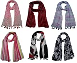 #7: FusFus Printed Designer Poly Cotton Set of 6 Mullticoloured stoles ; Trendy scarf stoles dupatta for Girls/Ladies/Women (F0167)