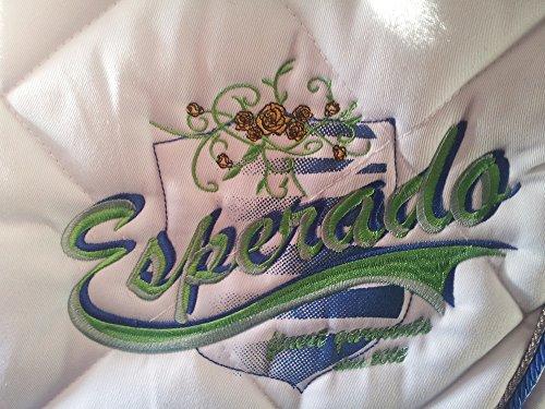 Esperado Schabracke Rose Garden Turnier Competition, WB VS, weiß, Kordel silber blau, Stickerei