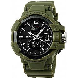 SKMEI Unisex Men Sports Outdoor Analog-Digital Watch Rubber Strap Dual Movement Multifunction + BOX