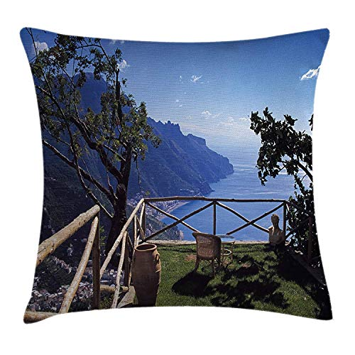 Country Decor Throw Pillow Cushion Cover, Mediterranean Scenic View Mountain Cliffs Sea Coast Travel Destination, Decorative Square Accent Pillow Case, 18 X 18 inches, Blue Green Cocoa