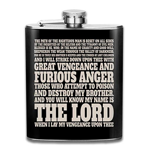 Jules Winnfield Flachmann mit Bibel-Zitat Pulp Fiction Print Flachmann Taschenflasche Flagon 200 ml Tragbarer Edelstahl Flagon
