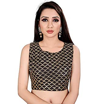 Ocean Fashion Women's Brocade and Georgette Round Neck Readymade Saree Blouse