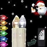 Hengda® 40x LED Kerzen Kabellose RGB Lichterkette INNEN Deko Weihnachtsbeleuchtung Set mit Fernbedienung