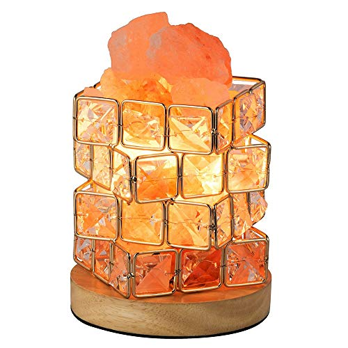 Cimic Salt Lampe, Bedside Lampe Hymalain Pink Crystal Rock in Cube Basket mit 15 Watt Light Bulb und Rotary Dimmer Switch für Home Decorations, Schlafzimmer -