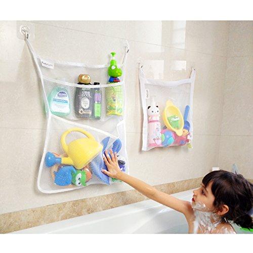 Bad aufbewahrung, Bad Spielzeug Organizer Set(2 Stück), Badezimmer Kinder Badewanne Netz Taschen mit 4 x Saughaken & 4 x Klebehaken Starke Qualität von Zebrum (Bad-organizer-set)