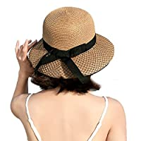 Woot Direct Womens Bowknot Straw Hat Foldable Roll up Beach Cap Summer UV Protection Sun Hat (Brown)
