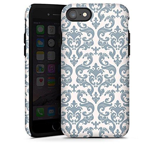 Apple iPhone X Silikon Hülle Case Schutzhülle Retro Muster Blumen Tough Case glänzend