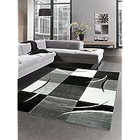 Designer rug living room carpet karo grey cream black size 160x230 cm
