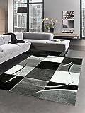 Designer Teppich Wohnzimmerteppich karo grau creme schwarz Größe 60x110 cm