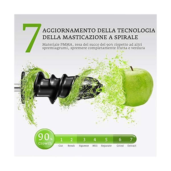 Estrattore di Succo a Freddo, Aicok BPA Gratuito Estrattore Frutta Verdura, Motore Silenzioso e Funzione Inversa, Spremiagrumi a Freddo Facile da Pulire con Pennello, Ricettedel di Frutta e Verdura - 2020 -