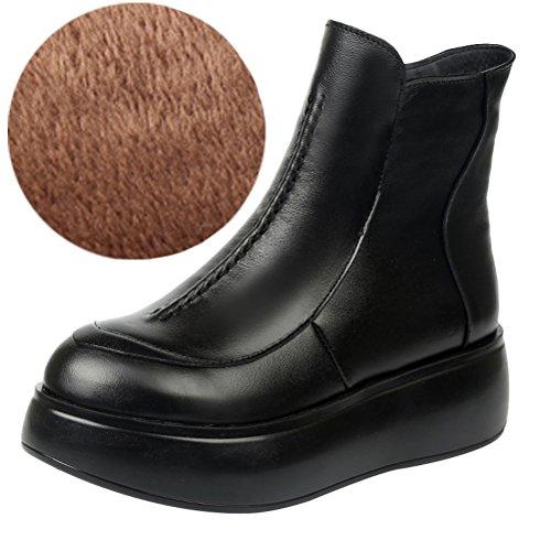 Vogstyle Damen Flach Plattform Boots Rund Toe Plateau Stiefelette Style 2 mit Plüschfutter Schwarz