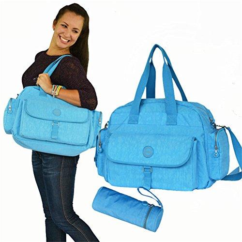 Kangming Multifunktions Baby Wickeltaschen Set isoliert Thermo Tote Mama Handtasche mit Unterlage und Flaschenhalter blau
