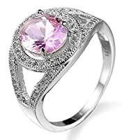 Lukis Women Rhinestone Jewelry Bride Engagement Wedding Ring Finger Accessory Gift Pink Q