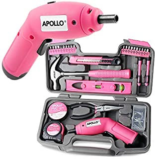 Apollo Precision Tools 70, Pink, 95-teilig mit 6 V Akkuschrauber