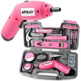 Apollo 70 Piece Pink Ladies Home DIY Tool Kit with 6V Cordless Electric Screwdriver & Pink Hand Tools in Storage Box for DIY, Decorating & Home Maintenance - Great Housewarming Gift for Women