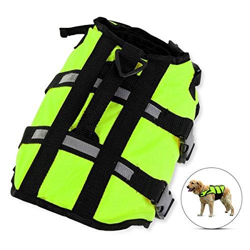 PETCUTE Rettungsweste für Hunde/Hund Schwimmweste mit Top Griff und Reflektierende Gurte/Lebensretter Jacke für Hund