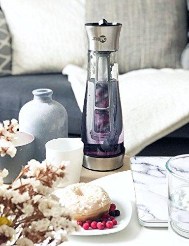 SHTC Kühlkaraffe, TESTSIEGER ! > 1 Liter, einzigartiger Gewindeverschluss als Deckel, Glaskaraffe mit Deckel, Wasserkaraffe, Karaffe, Glas/Edelstahl, (Kühlung möglich & Siebstab für Kaffee oder Tee)