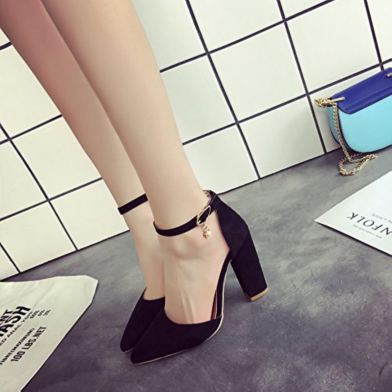 LYSLOLI Sandalias de Mujer Verano Zapatos Planos Retro Palabras Salvajes con Hebilla césped Zapatos, Negro, 37 -