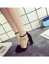 Bold hembra High-Heeled zapatos con punta ranurada con sandalias hembra, negro,36