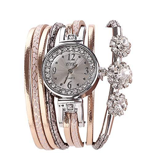 Damenuhren, Damenmode Analog Quarzuhren Vintage Strass Schmuck Armband -