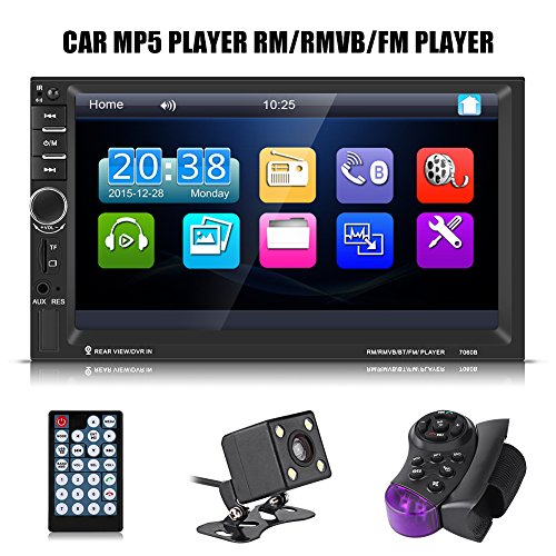 7 Zoll Auto MP5 Audio Doppel Din HD Touchscreen Bluetooth Auto MP5 FM Radio AUX USB Rückfahrkamera mit Lenkradfernbedienung