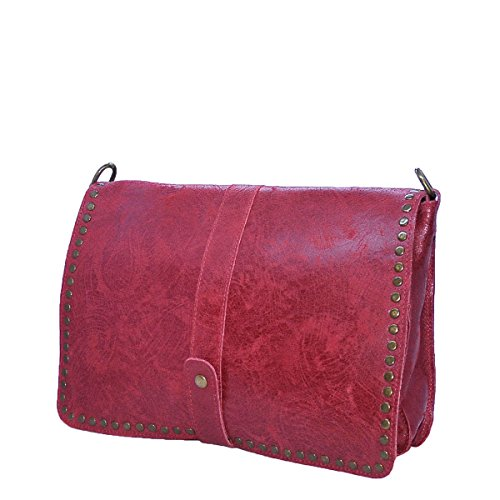 BORDERLINE - 100% Made in Italy - Borsa da Donna in Vera Pelle - Stile Vintage - LUISA - Rosso