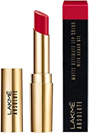 Lakme Absolute Matte Ultimate Lip Color with Argan Oil, Red Extreme, 3.4 g