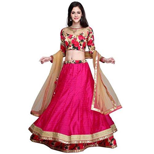 JULEE Fashion Women\'s Banglori Satin Semi-Stitched Lehenga Choli (LA82-Gulabo lehenga-JUL05_Pink_Free Size)