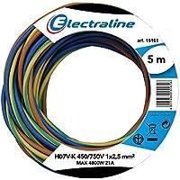 Electraline 25148 - N07V-K Cable, Sección 1X25 Mm, 5 Mt, Brown/Azul / Verde/Amarillo, color: Marrón/azul / verde/amarillo