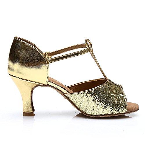 HROYL Damen Tanzschuhe/Latin Dance Schuhe Satin Ballsaal Modell-D7-216 Gold 40 EU - 4