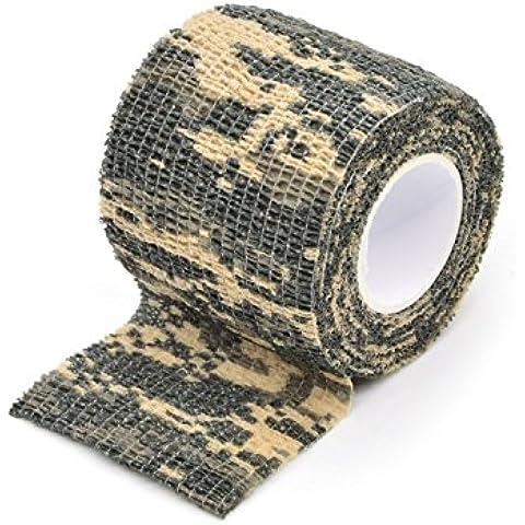 Vet, Nastro autoadesivo Outdoor militare mimetico forma Multi funzionale tessuto fasce Camouflage Wrap nastro nastro Stealth impermeabile, ideale per caccia pistola, Coltello Impugnatura, larghezza: 3,5mm], ACU