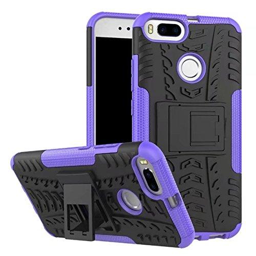 YHUISEN Xiaomi Mi5X Case, Hyun Pattern Dual Layer Hybrid Armor Kickstand 2 in 1 Shockproof Case Cover für Xiaomi Mi5X / Mi 5X ( Color : Purple ) Purple