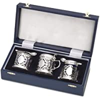 NEW - Sterling Silver - 3 Piece Pierced CONDIMENT / Cruet Set - Boxed