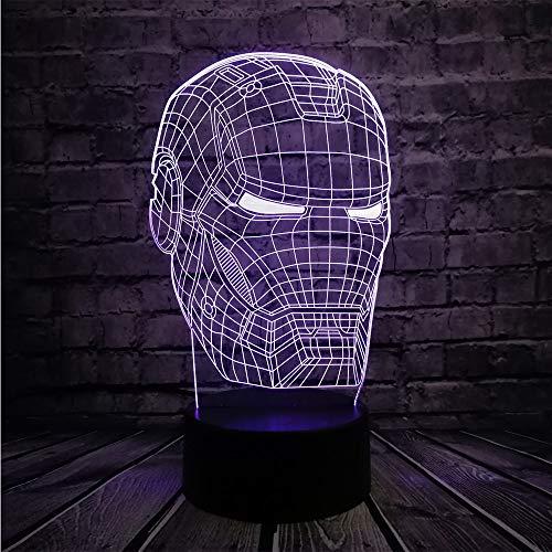 Leselampe Nachttischlampe Tischlampe Schreibtischlampe Tischleuchte Avengers 3D Lampe Iron Man Maske Led Nachtlicht Superheld Film Figur Neuheit Illusion Kreativ
